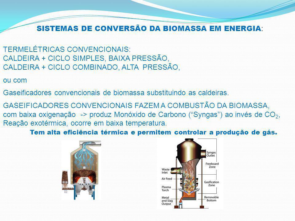 SISTEMAS DE CONVERSÃO DA BIOMASSA EM ENERGIA : TERMELÉTRICAS CONVENCIONAIS: CALDEIRA + CICLO SIMPLES, BAIXA PRESSÃO, CALDEIRA + CICLO COMBINADO, ALTA PRESSÃO, ou com Gaseificadores convencionais de biomassa substituindo as caldeiras.