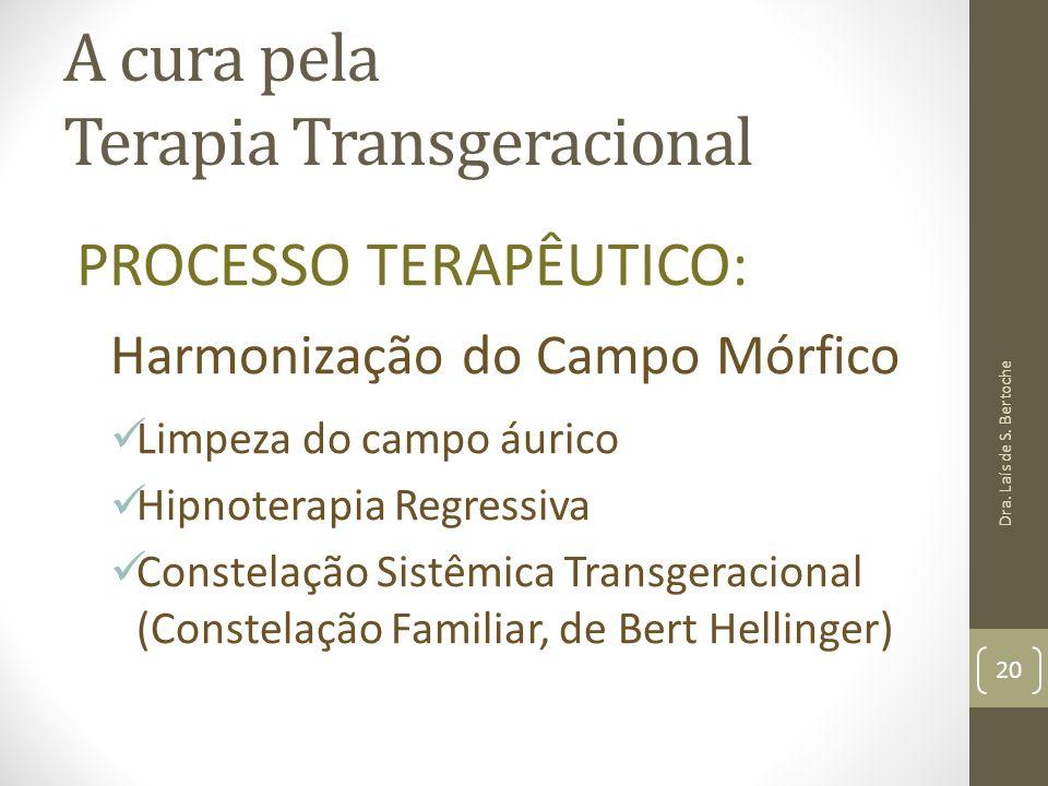 A cura pela Terapia Transgeracional PROCESSO TERAPÊUTICO: Harmonização do Campo Mórfico Limpeza do campo áurico Hipnoterapia Regressiva Constelação Si