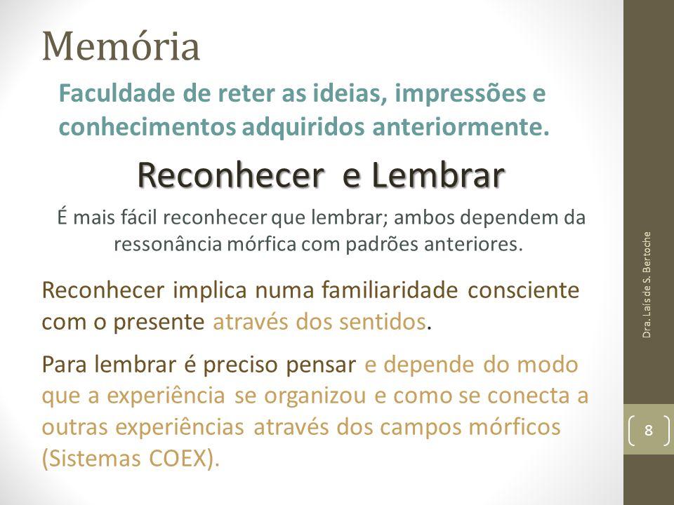 Memória Reconhecer e Lembrar É mais fácil reconhecer que lembrar; ambos dependem da ressonância mórfica com padrões anteriores. Dra. Laís de S. Bertoc