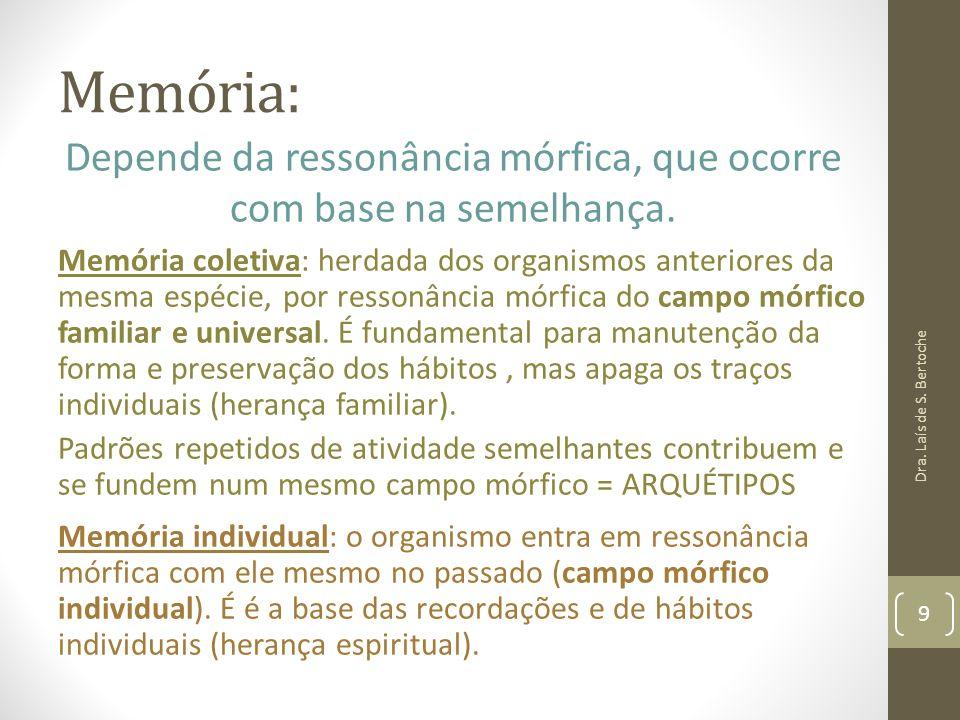 Memória: Memória coletiva: herdada dos organismos anteriores da mesma espécie, por ressonância mórfica do campo mórfico familiar e universal. É fundam
