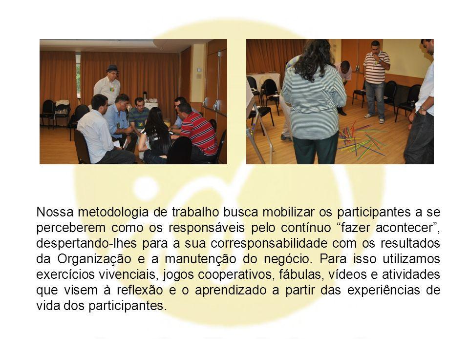 Nossa metodologia de trabalho busca mobilizar os participantes a se perceberem como os responsáveis pelo contínuo fazer acontecer, despertando-lhes pa