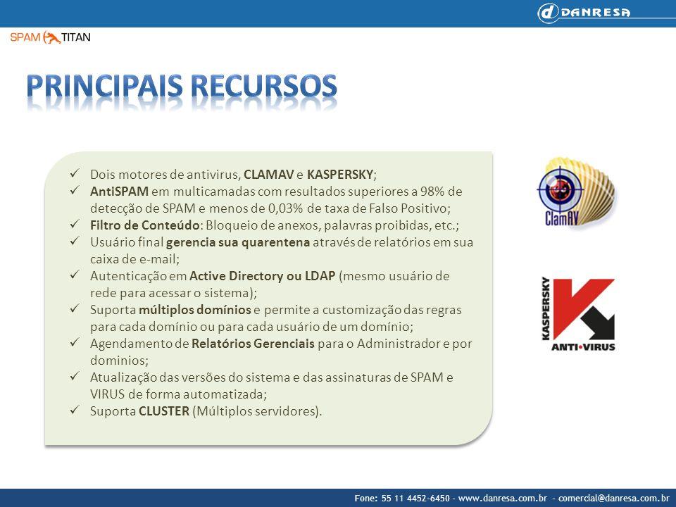 Fone: 55 11 4452-6450 - www.danresa.com.br - comercial@danresa.com.br Dois motores de antivirus, CLAMAV e KASPERSKY; AntiSPAM em multicamadas com resu