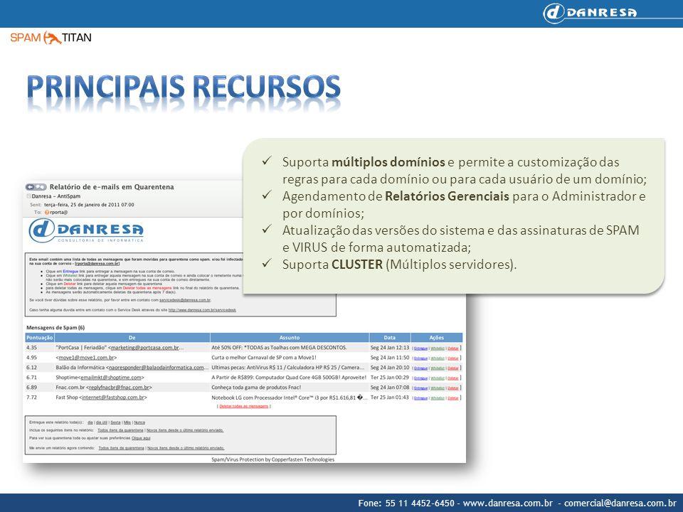 Fone: 55 11 4452-6450 - www.danresa.com.br - comercial@danresa.com.br Suporta múltiplos domínios e permite a customização das regras para cada domínio
