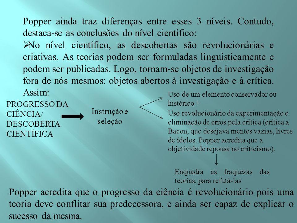 Popper ainda traz diferenças entre esses 3 níveis. Contudo, destaca-se as conclusões do nível científico: No nível científico, as descobertas são revo