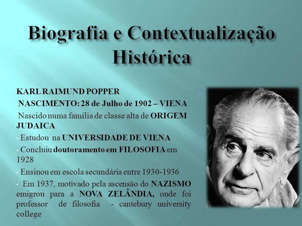 KARL RAIMUND POPPER NASCIMENTO: 28 de Julho de 1902 – VIENA Nascido numa família de classe alta de ORIGEM JUDAICA Estudou na UNIVERSIDADE DE VIENA Concluiu doutoramento em FILOSOFIA em 1928 Ensinou em escola secundária entre 1930-1936 Em 1937, motivado pela ascensão do NAZISMO emigrou para a NOVA ZELÂNDIA, onde foi professor de filosofia - cantebury university college