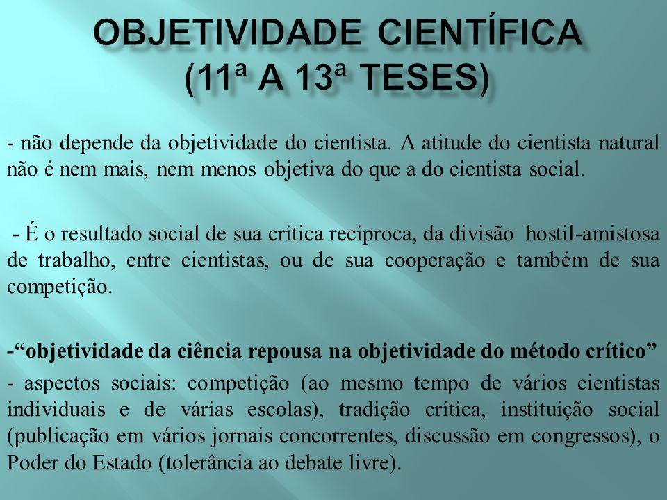 - não depende da objetividade do cientista.