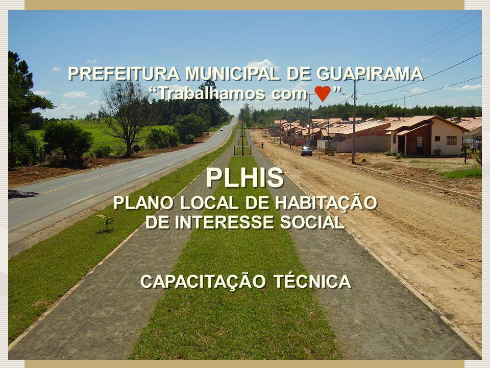 PREFEITURA MUNICIPAL DE GUAPIRAMA Trabalhamos com PLHIS PLANO LOCAL DE HABITAÇÃO DE INTERESSE SOCIAL CAPACITAÇÃO TÉCNICA PREFEITURA MUNICIPAL DE GUAPI