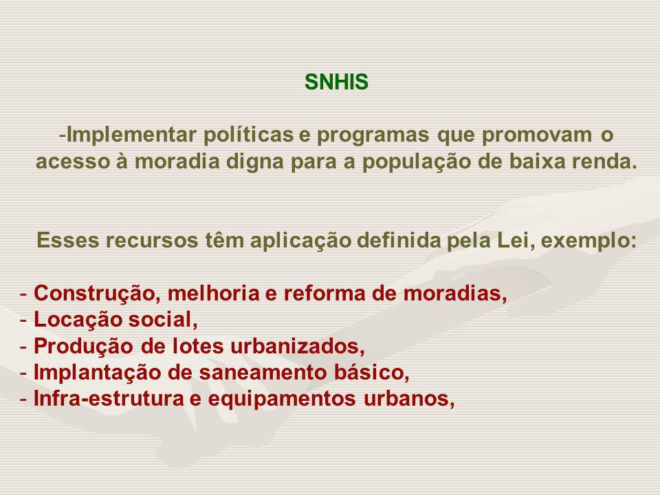 SNHIS -Implementar políticas e programas que promovam o acesso à moradia digna para a população de baixa renda. Esses recursos têm aplicação definida