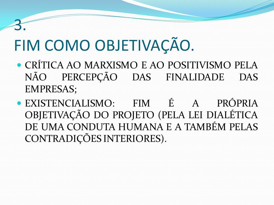 3. FIM COMO OBJETIVAÇÃO. CRÍTICA AO MARXISMO E AO POSITIVISMO PELA NÃO PERCEPÇÃO DAS FINALIDADE DAS EMPRESAS; EXISTENCIALISMO: FIM É A PRÓPRIA OBJETIV