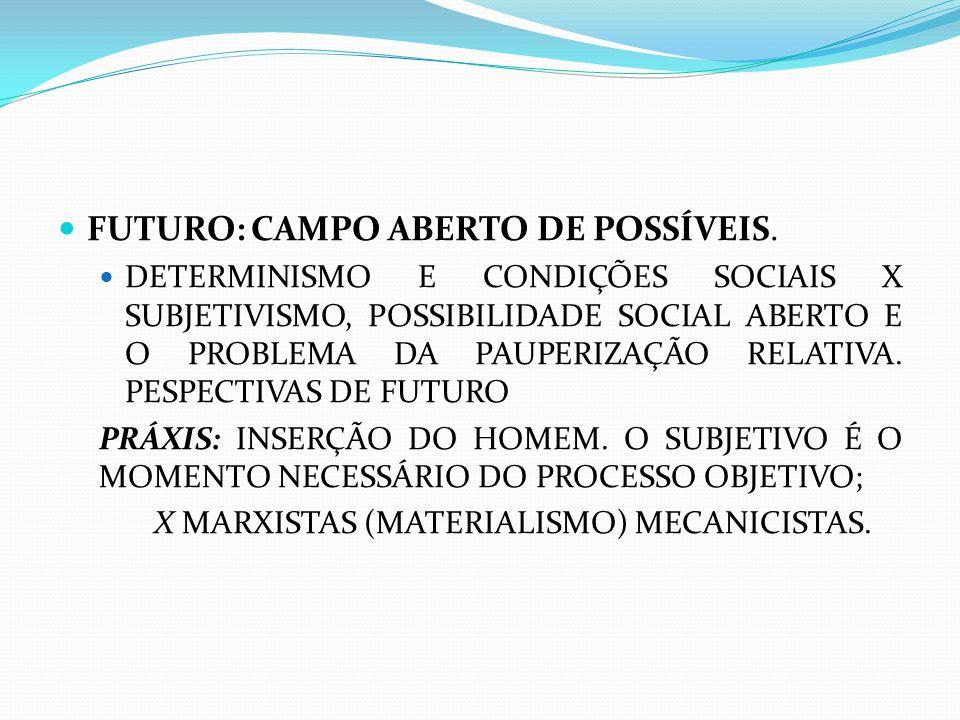 FUTURO: CAMPO ABERTO DE POSSÍVEIS. DETERMINISMO E CONDIÇÕES SOCIAIS X SUBJETIVISMO, POSSIBILIDADE SOCIAL ABERTO E O PROBLEMA DA PAUPERIZAÇÃO RELATIVA.