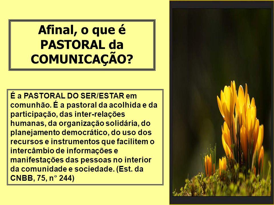 Afinal, o que é PASTORAL da COMUNICAÇÃO.É a PASTORAL DO SER/ESTAR em comunhão.