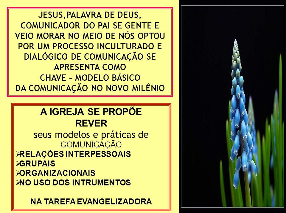 JESUS,PALAVRA DE DEUS, COMUNICADOR DO PAI SE GENTE E VEIO MORAR NO MEIO DE NÓS OPTOU POR UM PROCESSO INCULTURADO E DIALÓGICO DE COMUNICAÇÃO SE APRESENTA COMO CHAVE – MODELO BÁSICO DA COMUNICAÇÃO NO NOVO MILÊNIO A IGREJA SE PROPÕE REVER seus modelos e práticas de COMUNICAÇÃO RELAÇÕES INTERPESSOAIS GRUPAIS ORGANIZACIONAIS NO USO DOS INTRUMENTOS NA TAREFA EVANGELIZADORA