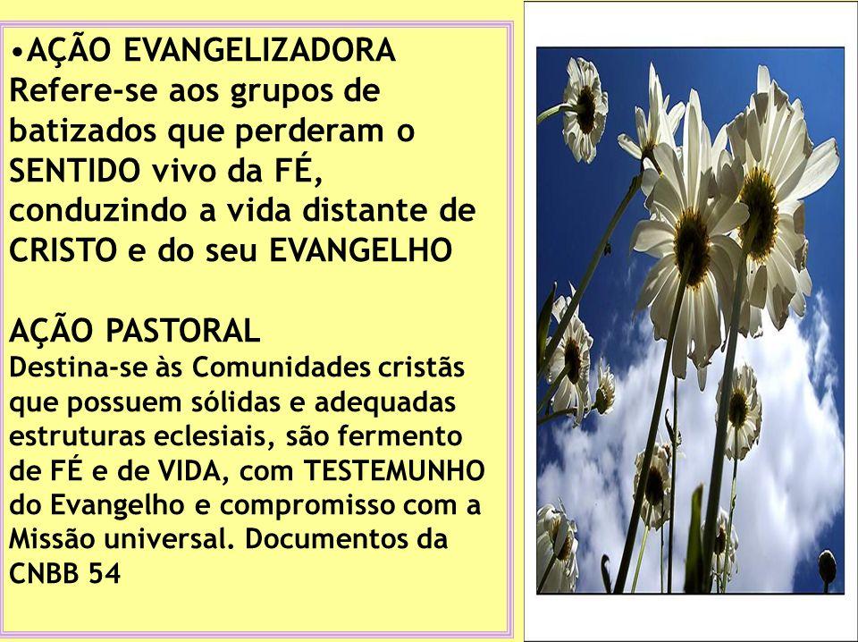 AÇÃO EVANGELIZADORA Refere-se aos grupos de batizados que perderam o SENTIDO vivo da FÉ, conduzindo a vida distante de CRISTO e do seu EVANGELHO AÇÃO PASTORAL Destina-se às Comunidades cristãs que possuem sólidas e adequadas estruturas eclesiais, são fermento de FÉ e de VIDA, com TESTEMUNHO do Evangelho e compromisso com a Missão universal.