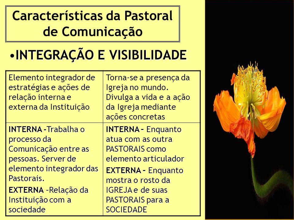 Características da Pastoral de Comunicação INTEGRAÇÃO E VISIBILIDADEINTEGRAÇÃO E VISIBILIDADE Elemento integrador de estratégias e ações de relação interna e externa da Instituição Torna-se a presença da Igreja no mundo.