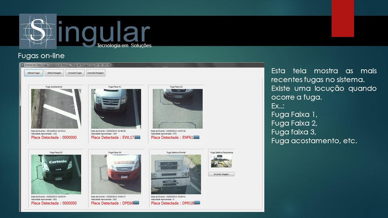 Fugas on-line Esta tela mostra as mais recentes fugas no sistema. Existe uma locução quando ocorre a fuga. Ex..: Fuga Faixa 1, Fuga Faixa 2, Fuga faix