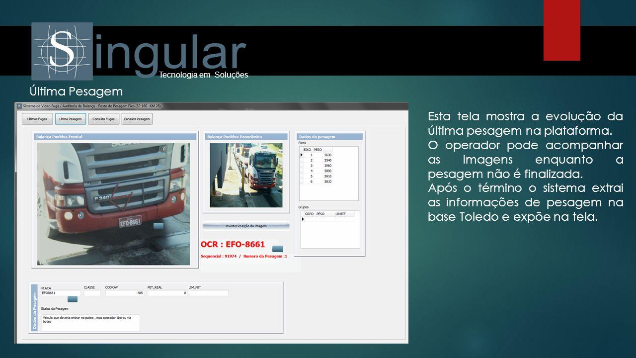 Tecnologia em Soluções Última Pesagem Esta tela mostra a evolução da última pesagem na plataforma. O operador pode acompanhar as imagens enquanto a pe