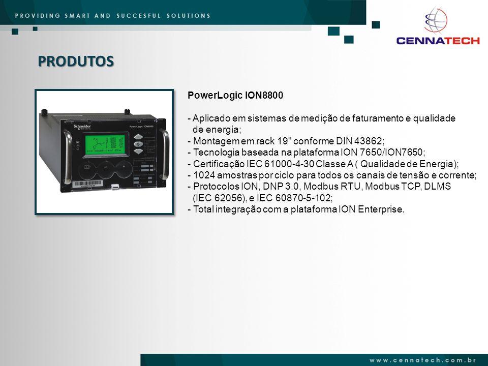 PRODUTOS PowerLogic ION7650 / ION7550 - Medição de Faturamento Classe 0,2S - Módulo 12 - CCEE; - Medição de Qualidade de Energia – Módulo 8 PRODIST; - 1024 / 256 amostras por ciclo para Oscilografia; - Flicker IEC 61000-4-15 (ION 7650); - Conformidade com EN50160 (ION 7650); - Detecção de distúrbio; - Display gráfico e alfanumérico com teclas rápidas de navegação; - Porta Ótica, Ethernet 100BASE T / 100BASE FX e Serial RS 485 / RS 232; - 38 conexões simultâneas com protocolos diferentes; - IEC 61850 e forma de onda no formato CONTRADE; - Certificado IEC 61000-4-30 Classe A.