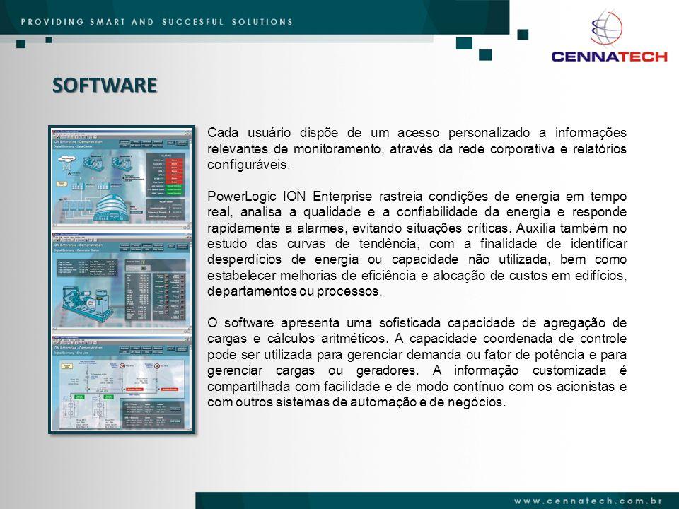 SOFTWARE Cada usuário dispõe de um acesso personalizado a informações relevantes de monitoramento, através da rede corporativa e relatórios configuráv