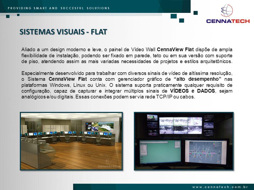 SISTEMAS VISUAIS - FLAT Aliado a um design moderno e leve, o painel de Vídeo Wall CennaView Flat dispõe de ampla flexibilidade de instalação, podendo