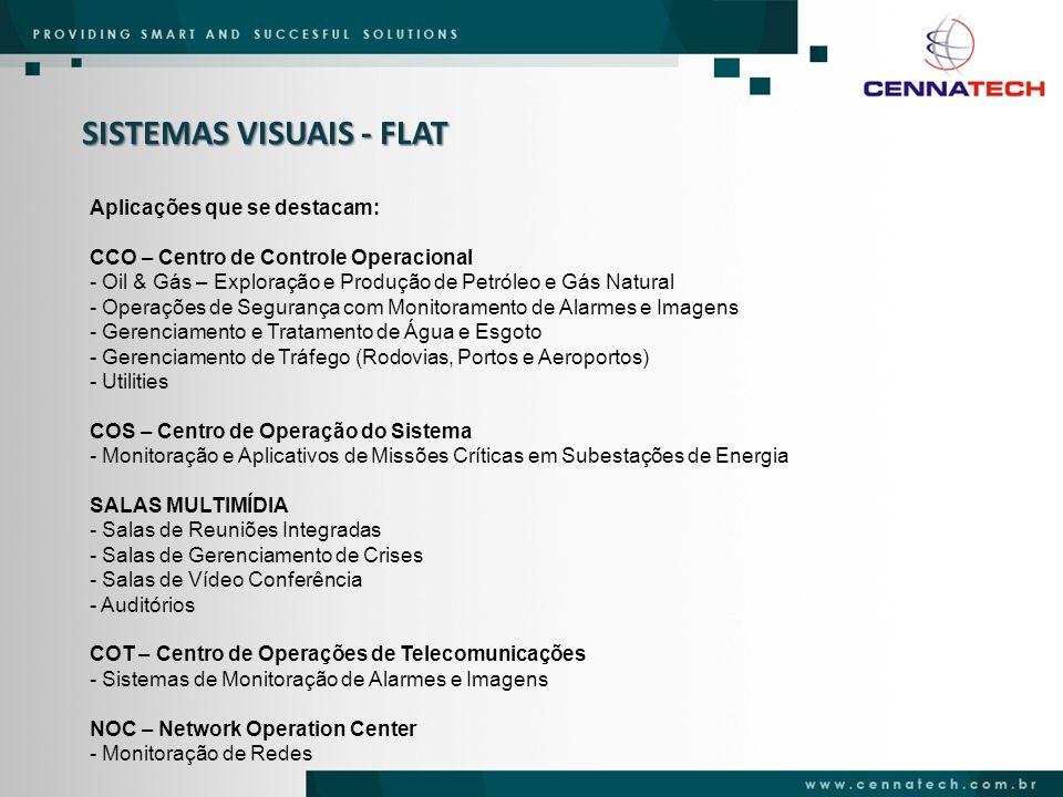 SISTEMAS VISUAIS - FLAT Aplicações que se destacam: CCO – Centro de Controle Operacional - Oil & Gás – Exploração e Produção de Petróleo e Gás Natural