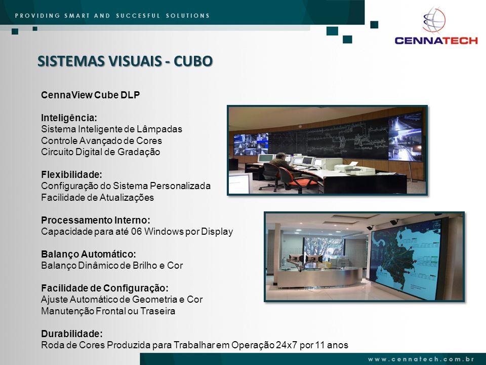 SISTEMAS VISUAIS - CUBO CennaView Cube DLP Inteligência: Sistema Inteligente de Lâmpadas Controle Avançado de Cores Circuito Digital de Gradação Flexi
