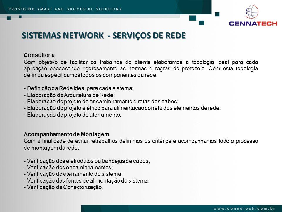SISTEMAS NETWORK - SERVIÇOS DE REDE Consultoria Com objetivo de facilitar os trabalhos do cliente elaboramos a topologia ideal para cada aplicação obe