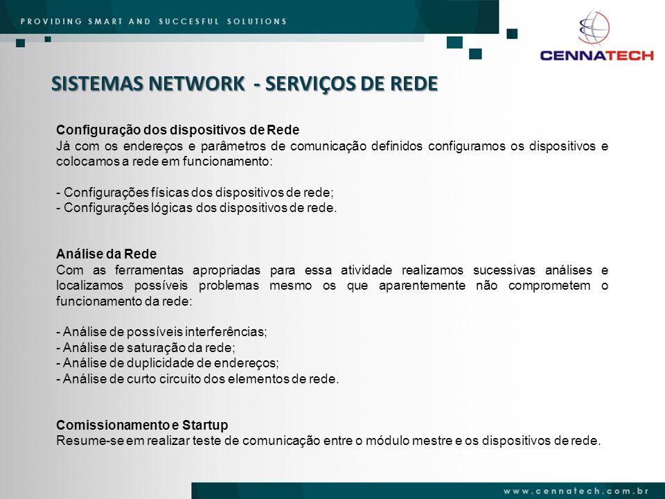 SISTEMAS NETWORK - SERVIÇOS DE REDE Configuração dos dispositivos de Rede Já com os endereços e parâmetros de comunicação definidos configuramos os di
