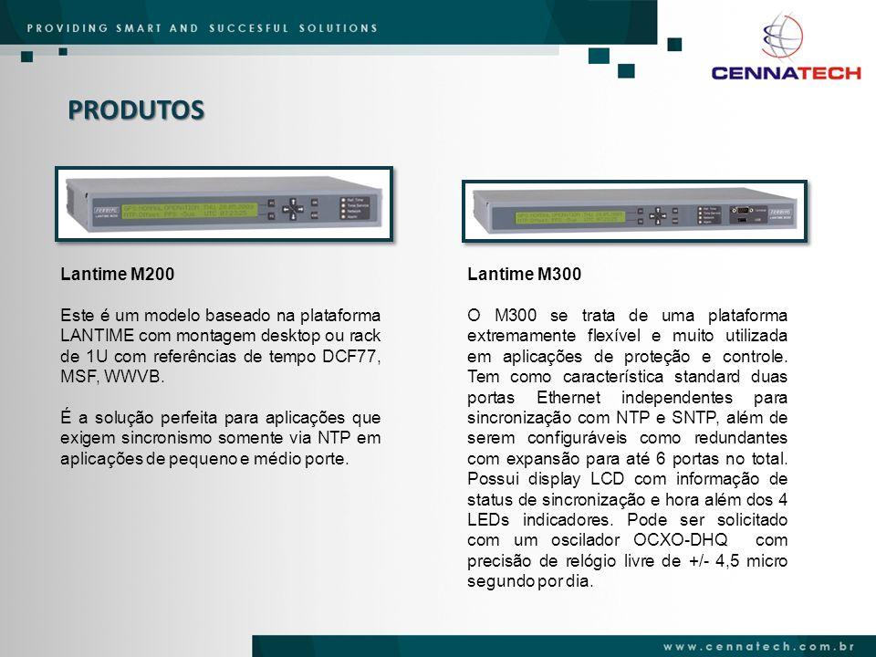 PRODUTOS Lantime M200 Este é um modelo baseado na plataforma LANTIME com montagem desktop ou rack de 1U com referências de tempo DCF77, MSF, WWVB. É a