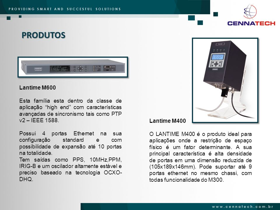 PRODUTOS Lantime M600 Esta família esta dentro da classe de aplicação high end com características avançadas de sincronismo tais como PTP v2 – IEEE 15