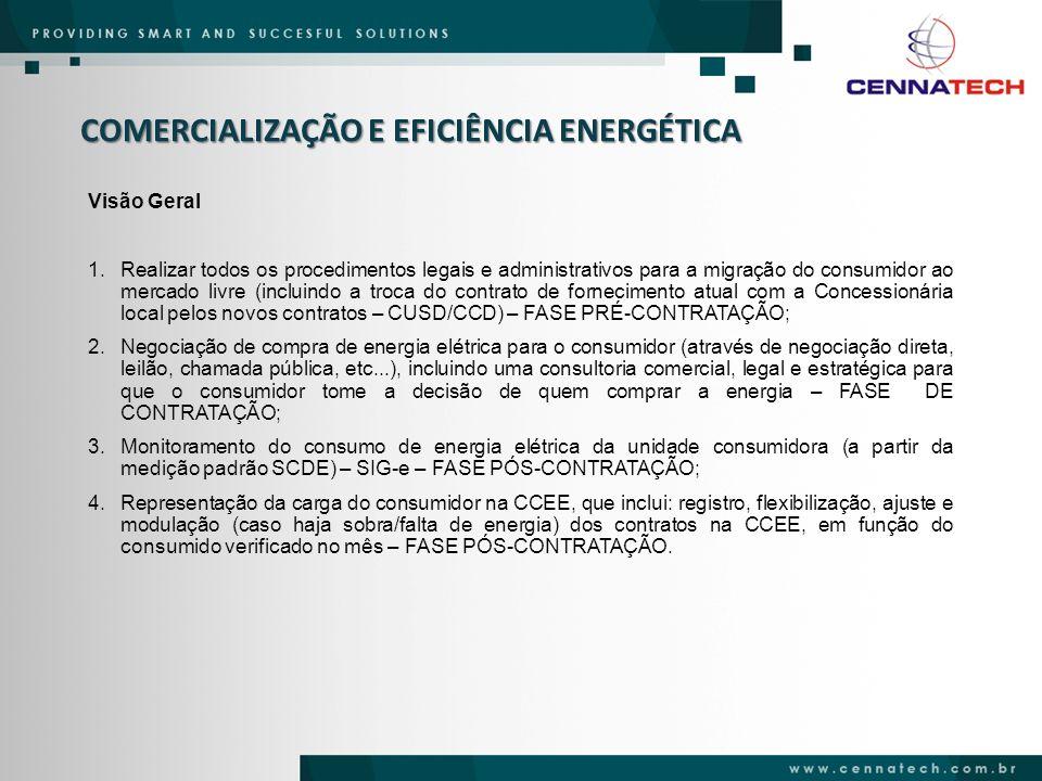 COMERCIALIZAÇÃO E EFICIÊNCIA ENERGÉTICA Vantagens Cennatech COMERCIALIZADORAS INDEPENDENTES – PRESTADORAS DE SERVIÇOS: Não estão vinculadas a grupos econômicos que controlam geradoras de energia elétrica; Foco principal: prover serviços de gestão de energia elétrica para consumidores no mercado livre, obtendo dessa forma uma redução de custo do insumo energia elétrica para estes consumidores.