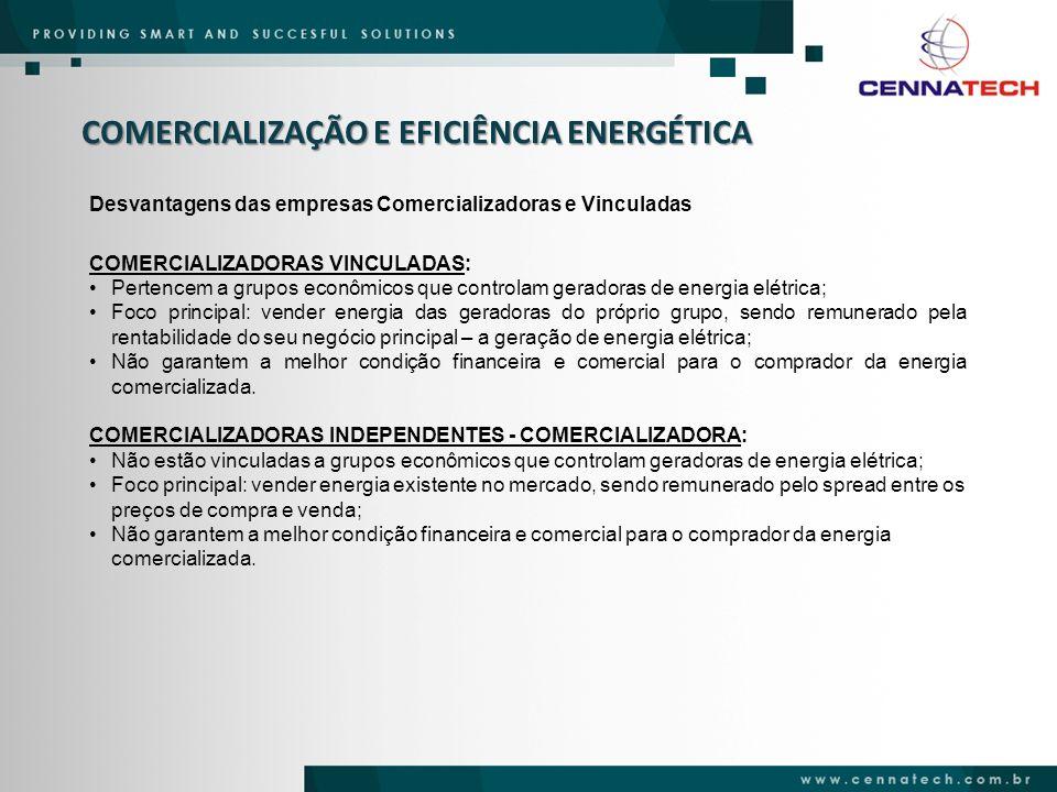COMERCIALIZAÇÃO E EFICIÊNCIA ENERGÉTICA Desvantagens das empresas Comercializadoras e Vinculadas COMERCIALIZADORAS VINCULADAS: Pertencem a grupos econ