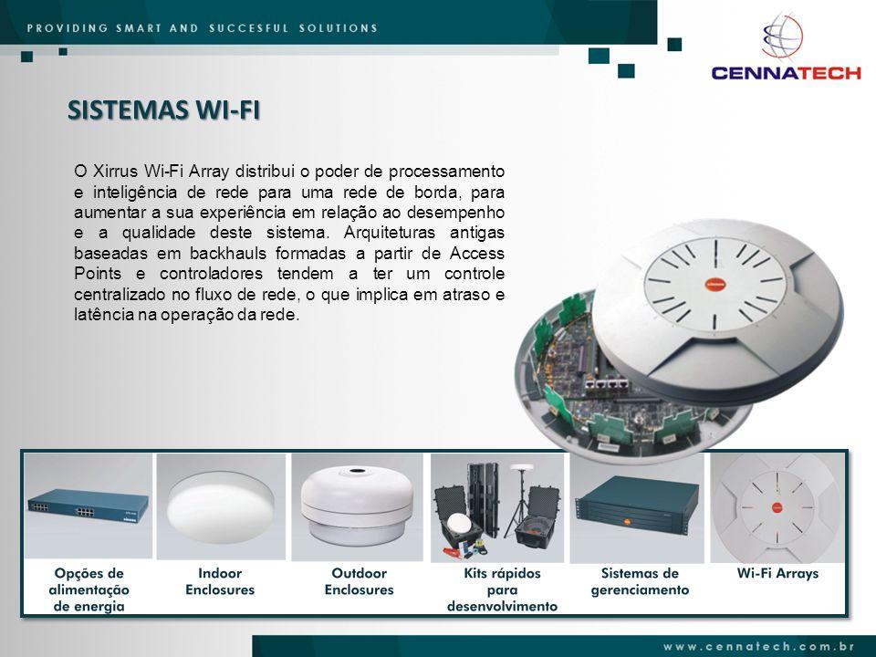 SISTEMAS WI-FI O Xirrus Wi-Fi Array distribui o poder de processamento e inteligência de rede para uma rede de borda, para aumentar a sua experiência