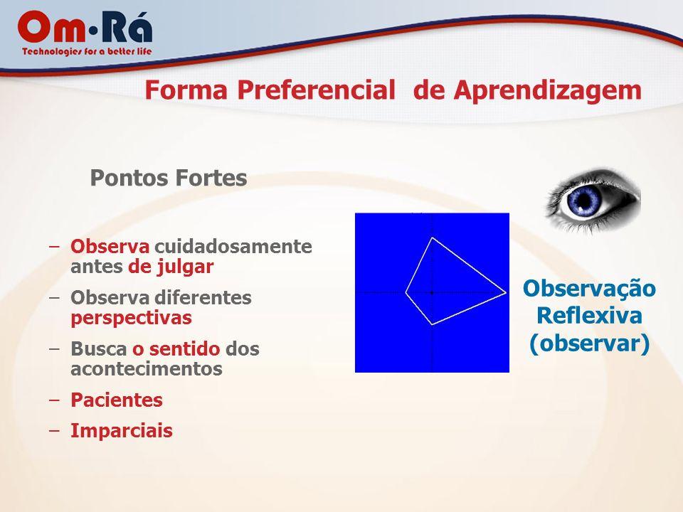 Forma Preferencial de Aprendizagem Observação Reflexiva (observar) Pontos Fortes –Observa cuidadosamente antes de julgar –Observa diferentes perspecti