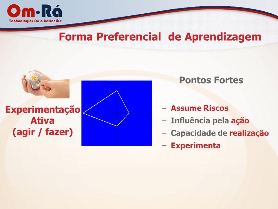 Forma Preferencial de Aprendizagem Experimentação Ativa (agir / fazer) Pontos Fortes –Assume Riscos –Influência pela ação –Capacidade de realização –E