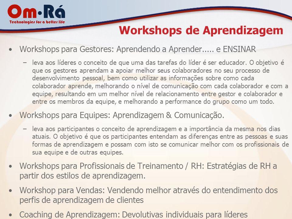 Workshops de Aprendizagem Workshops para Gestores: Aprendendo a Aprender..... e ENSINAR –leva aos líderes o conceito de que uma das tarefas do líder é