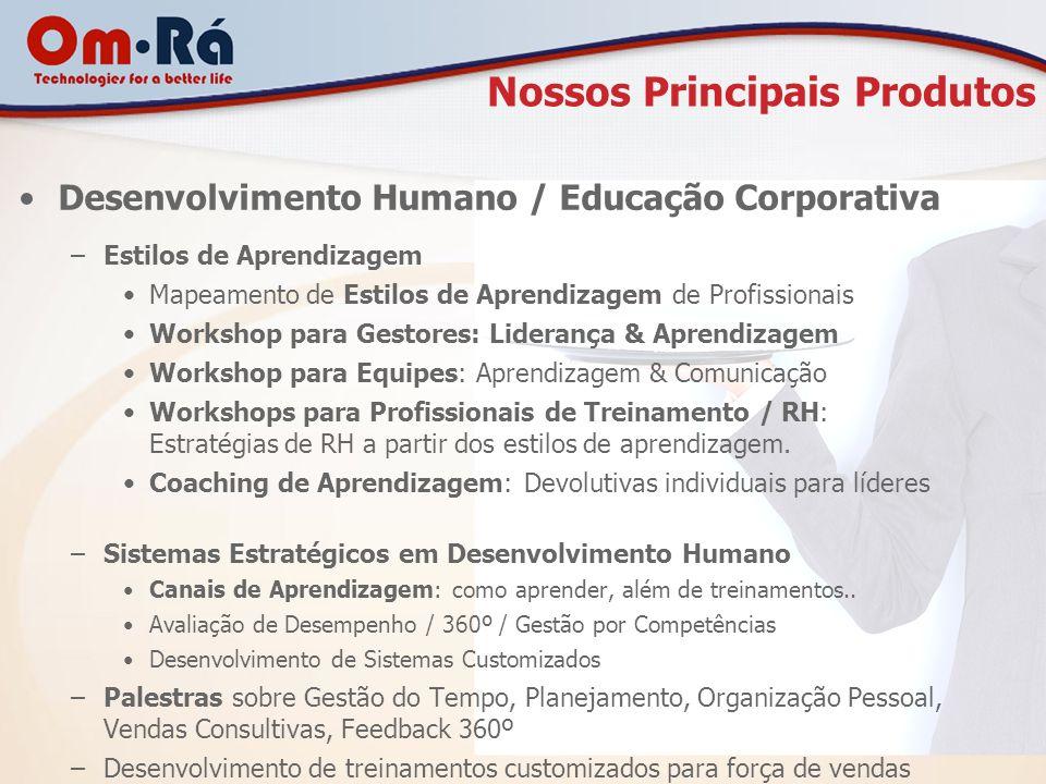 Nossos Principais Produtos Desenvolvimento Humano / Educação Corporativa –Estilos de Aprendizagem Mapeamento de Estilos de Aprendizagem de Profissiona