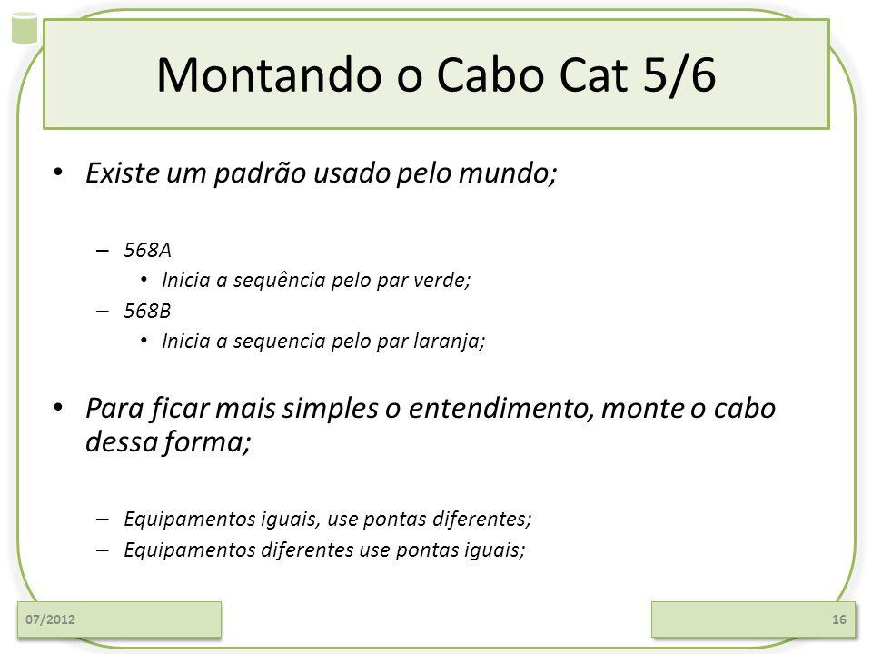 Montando o Cabo Cat 5/6 Existe um padrão usado pelo mundo; – 568A Inicia a sequência pelo par verde; – 568B Inicia a sequencia pelo par laranja; Para