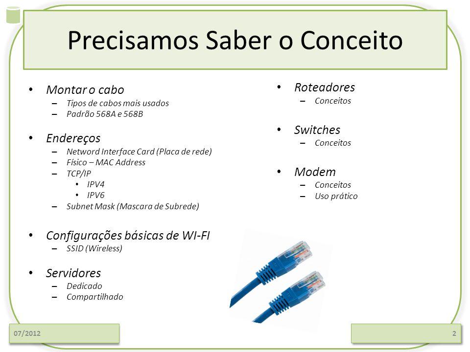 Precisamos Saber o Conceito Montar o cabo – Tipos de cabos mais usados – Padrão 568A e 568B Endereços – Netword Interface Card (Placa de rede) – Físic
