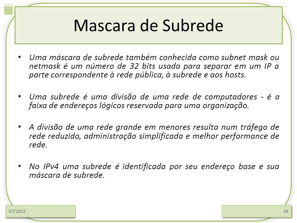 Mascara de Subrede Uma máscara de subrede também conhecida como subnet mask ou netmask é um número de 32 bits usada para separar em um IP a parte corr