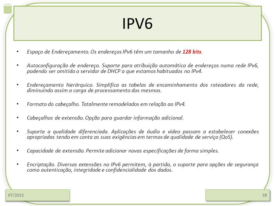 IPV6 Espaço de Endereçamento. Os endereços IPv6 têm um tamanho de 128 bits. Autoconfiguração de endereço. Suporte para atribuição automática de endere