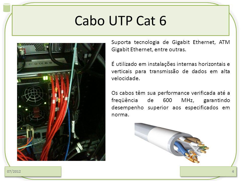 Cabo UTP Cat 6 07/20124 Suporta tecnologia de Gigabit Ethernet, ATM Gigabit Ethernet, entre outras. É utilizado em instalações internas horizontais e