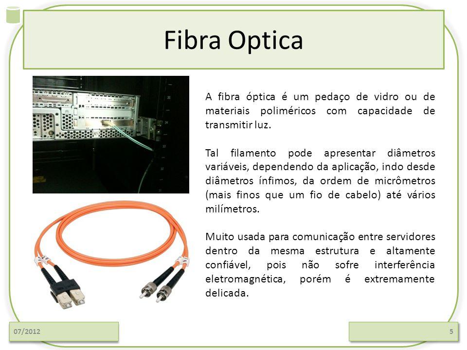 Fibra Optica 07/20125 A fibra óptica é um pedaço de vidro ou de materiais poliméricos com capacidade de transmitir luz. Tal filamento pode apresentar