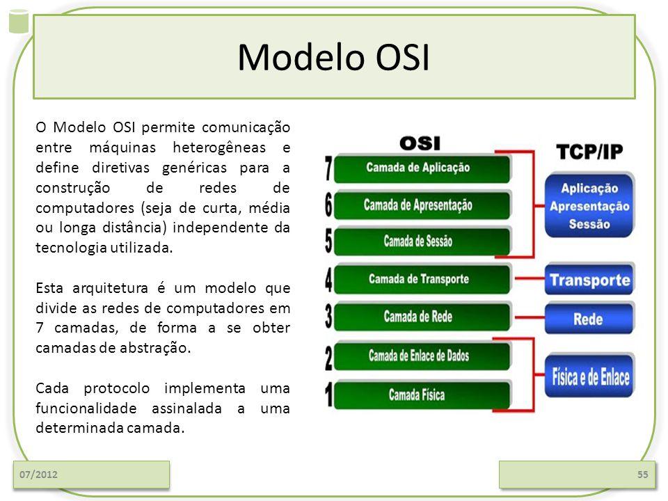 Modelo OSI 07/201255 O Modelo OSI permite comunicação entre máquinas heterogêneas e define diretivas genéricas para a construção de redes de computado