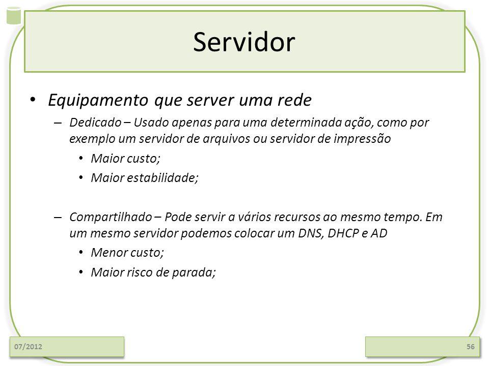 Servidor Equipamento que server uma rede – Dedicado – Usado apenas para uma determinada ação, como por exemplo um servidor de arquivos ou servidor de