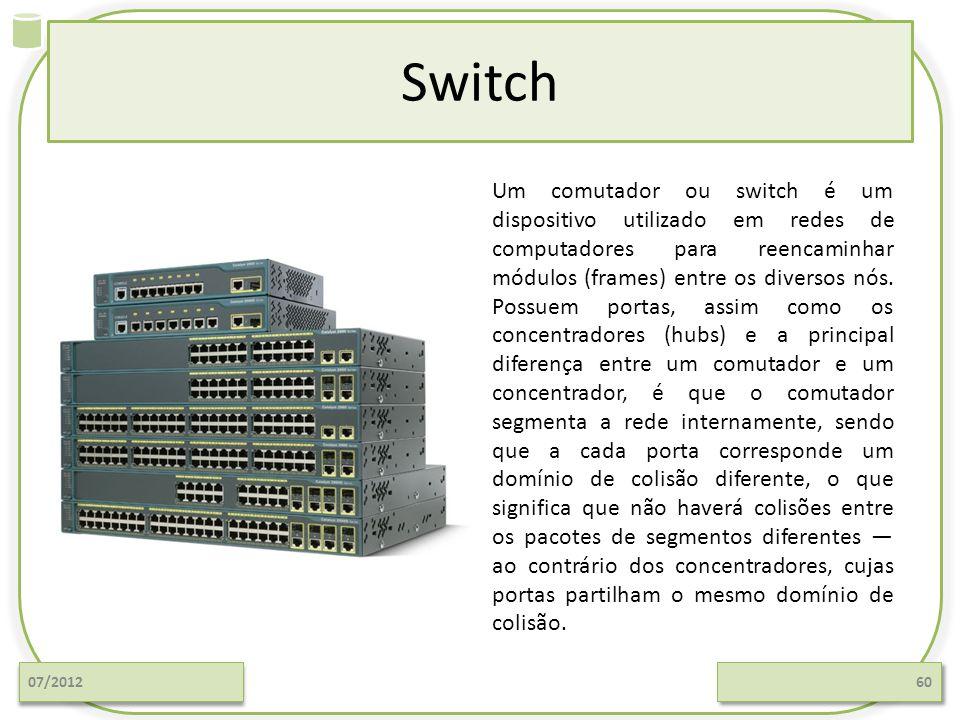 Switch 07/201260 Um comutador ou switch é um dispositivo utilizado em redes de computadores para reencaminhar módulos (frames) entre os diversos nós.