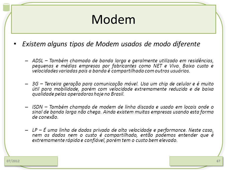 Modem Existem alguns tipos de Modem usados de modo diferente – ADSL – Também chamado de banda larga e geralmente utilizado em residências, pequenas e