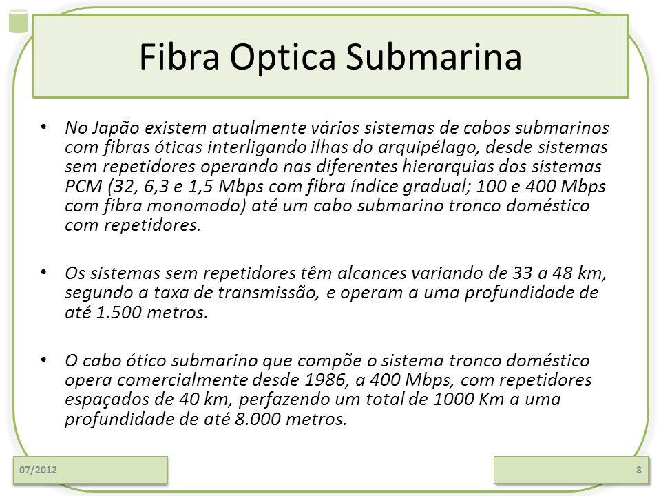 Fibra Optica Submarina No Japão existem atualmente vários sistemas de cabos submarinos com fibras óticas interligando ilhas do arquipélago, desde sist