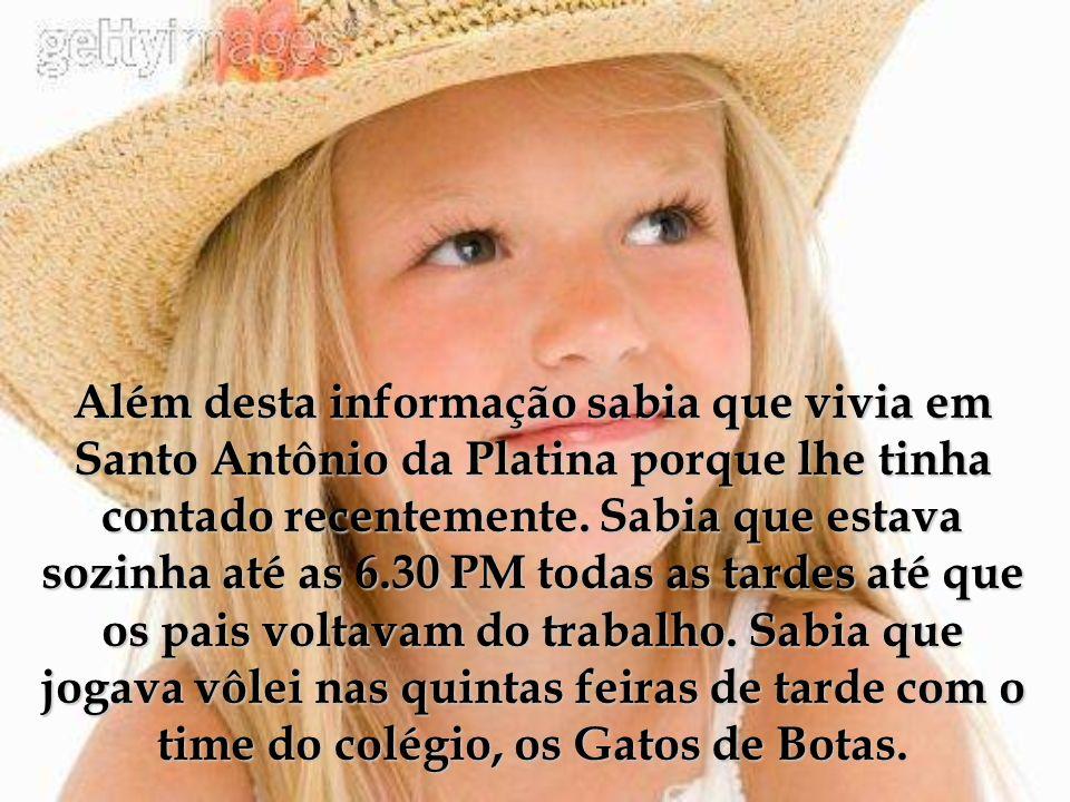 Seu nome: Tatiane aniversário: Janeiro 3, 1993. Idade.: 13.: Cidade onde vive: Santo Antônio da Platina, Estado do Paraná. Passatempos: vôlei, inglês,