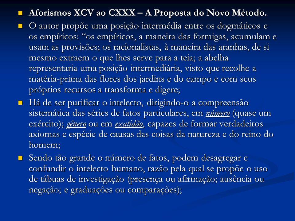 Aforismos XCV ao CXXX – A Proposta do Novo Método. Aforismos XCV ao CXXX – A Proposta do Novo Método. O autor propõe uma posição intermédia entre os d