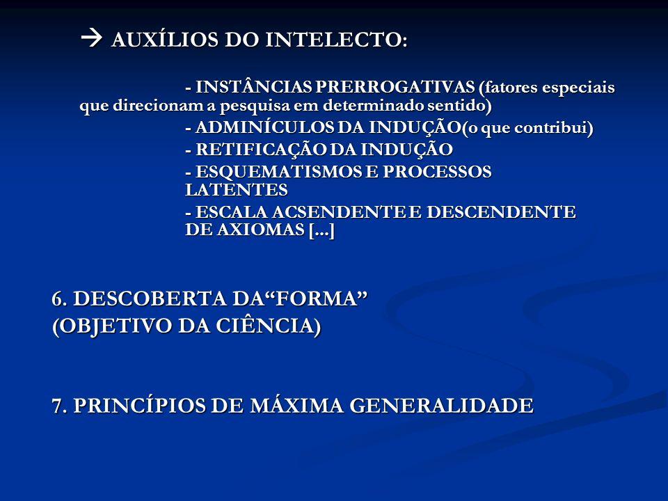 AUXÍLIOS DO INTELECTO: AUXÍLIOS DO INTELECTO: - INSTÂNCIAS PRERROGATIVAS (fatores especiais que direcionam a pesquisa em determinado sentido) - ADMINÍ
